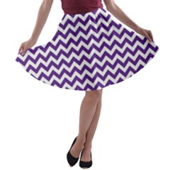 Purple And White Zigzag Pattern A Line Skater Skirt