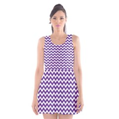 Purple And White Zigzag Pattern Scoop Neck Skater Dress