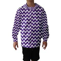 Purple And White Zigzag Pattern Hooded Wind Breaker (Kids)