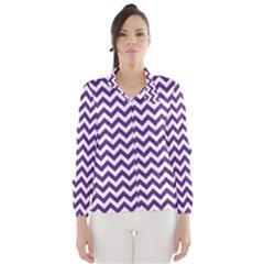 Purple And White Zigzag Pattern Wind Breaker (Women)