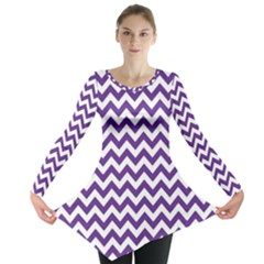 Purple And White Zigzag Pattern Long Sleeve Tunic