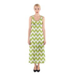 Spring Green And White Zigzag Pattern Full Print Maxi Dress