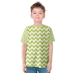 Spring Green And White Zigzag Pattern Kid s Cotton Tee