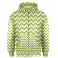 Spring Green And White Zigzag Pattern Men s Zipper Hoodie