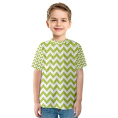Spring Green And White Zigzag Pattern Kid s Sport Mesh Tee