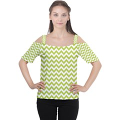 Spring Green And White Zigzag Pattern Women s Cutout Shoulder Tee