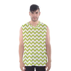 Spring Green And White Zigzag Pattern Men s Basketball Tank Top