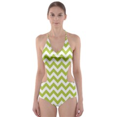 Spring Green And White Zigzag Pattern Cut Out One Piece Swimsuit