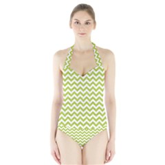 Spring Green And White Zigzag Pattern Women s Halter One Piece Swimsuit