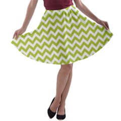 Spring Green And White Zigzag Pattern A-line Skater Skirt
