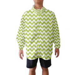 Spring Green And White Zigzag Pattern Wind Breaker (Kids)