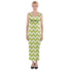 Spring Green And White Zigzag Pattern Fitted Maxi Dress