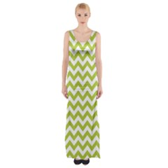 Spring Green And White Zigzag Pattern Maxi Thigh Split Dress