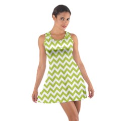 Spring Green And White Zigzag Pattern Racerback Dresses