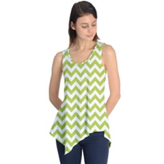 Spring Green And White Zigzag Pattern Sleeveless Tunic