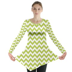 Spring Green And White Zigzag Pattern Long Sleeve Tunic