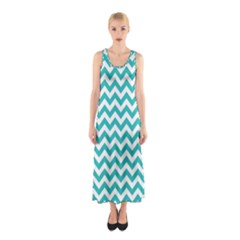 Turquoise And White Zigzag Pattern Full Print Maxi Dress