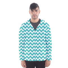 Turquoise And White Zigzag Pattern Hooded Wind Breaker (men)