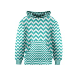 Turquoise And White Zigzag Pattern Kids  Pullover Hoodie