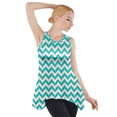 Turquoise And White Zigzag Pattern Side Drop Tank Tunic