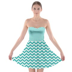 Turquoise And White Zigzag Pattern Strapless Dresses