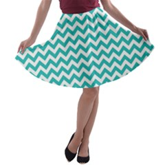 Turquoise And White Zigzag Pattern A-line Skater Skirt