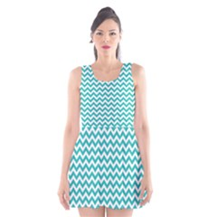 Turquoise And White Zigzag Pattern Scoop Neck Skater Dress
