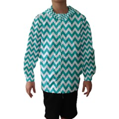 Turquoise And White Zigzag Pattern Hooded Wind Breaker (kids)