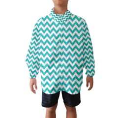 Turquoise And White Zigzag Pattern Wind Breaker (Kids)