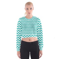 Turquoise And White Zigzag Pattern Women s Cropped Sweatshirt