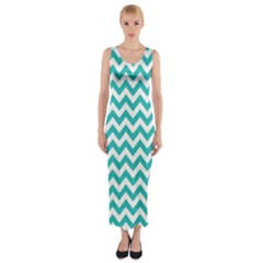Turquoise And White Zigzag Pattern Fitted Maxi Dress