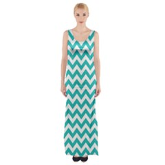 Turquoise And White Zigzag Pattern Maxi Thigh Split Dress