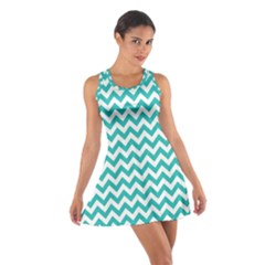 Turquoise And White Zigzag Pattern Racerback Dresses