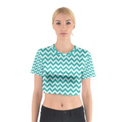 Turquoise And White Zigzag Pattern Cotton Crop Top
