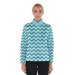Turquoise And White Zigzag Pattern Winterwear