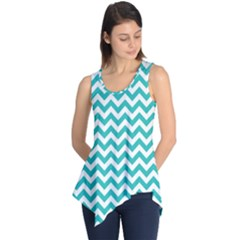 Turquoise And White Zigzag Pattern Sleeveless Tunic