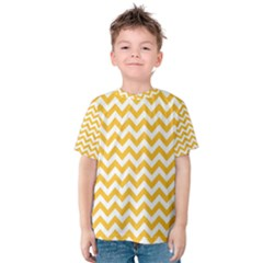 Sunny Yellow And White Zigzag Pattern Kid s Cotton Tee