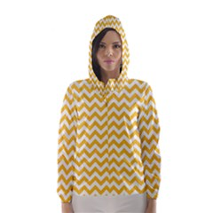 Sunny Yellow And White Zigzag Pattern Hooded Wind Breaker (Women)