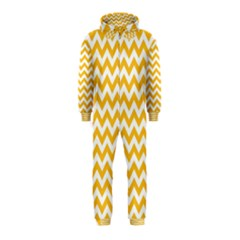 Sunny Yellow And White Zigzag Pattern Hooded Jumpsuit (kids)