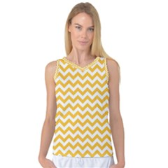 Sunny Yellow And White Zigzag Pattern Women s Basketball Tank Top