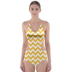 Sunny Yellow And White Zigzag Pattern Cut-Out One Piece Swimsuit