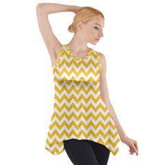 Sunny Yellow And White Zigzag Pattern Side Drop Tank Tunic