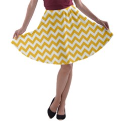 Sunny Yellow And White Zigzag Pattern A-line Skater Skirt