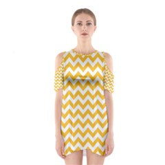 Sunny Yellow And White Zigzag Pattern Cutout Shoulder Dress