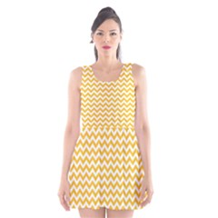 Sunny Yellow And White Zigzag Pattern Scoop Neck Skater Dress