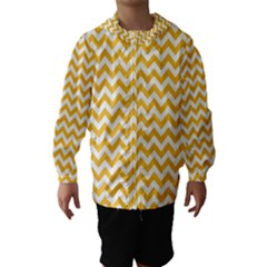 Sunny Yellow And White Zigzag Pattern Hooded Wind Breaker (Kids)