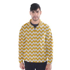 Sunny Yellow And White Zigzag Pattern Wind Breaker (men)