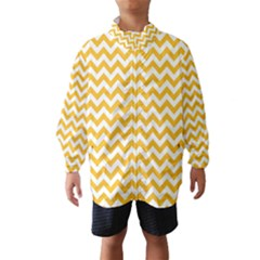 Sunny Yellow And White Zigzag Pattern Wind Breaker (Kids)
