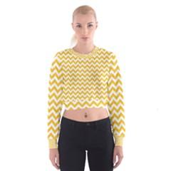 Sunny Yellow And White Zigzag Pattern Women s Cropped Sweatshirt