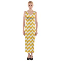 Sunny Yellow And White Zigzag Pattern Fitted Maxi Dress